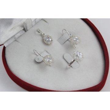 Дамски сребърен комплект с бели камъни 1610