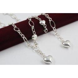 Дамски сребърен комплект - Сърца колие и гривна 1621
