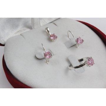 Дамски сребърен комплект Снежанка - Розова обеци пръстен медальон 1627