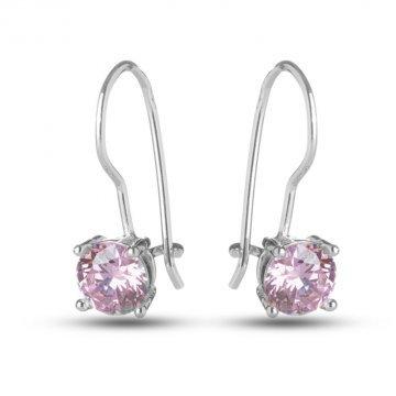 Сребърни обици с розови камъни 526