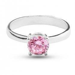 Сребърен пръстен с розов камък 527