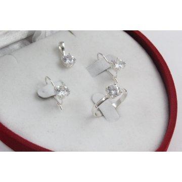 Дамски сребърен комплект Снежанка обеци пръстен медальон 1628