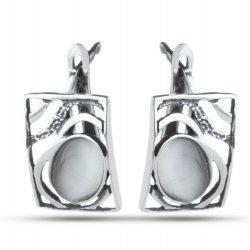 Дамски сребърни обеци с котешко око Лунна Нощ 4431