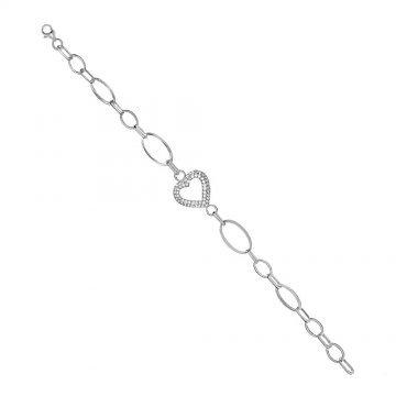 Дамска сребърна гривна сърце бели камъни Амор 3707