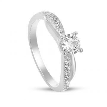 Дамски сребърен годежен пръстен 1659