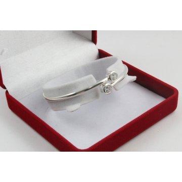 Дамска твърда сребърна гривна с бели камъни Джемини 1666