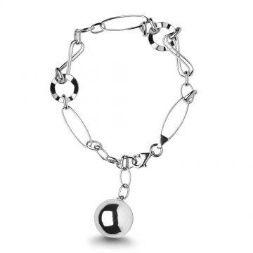 Дамска сребърна гривна с топче и безкрайност 1698