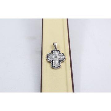 Сребърен дамски кръст тъмно сребро 1738