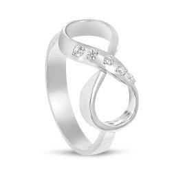 Дамски сребърен пръстен с безкрайност и бели камъни 168
