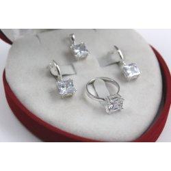 Дамски сребърен комплект с бели камъни 1753