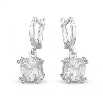 Висящи дамски сребърни обеци с бели камъни 5070