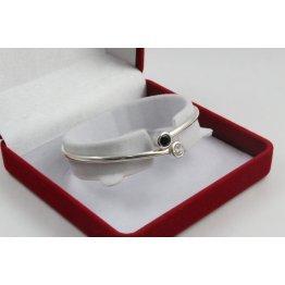 Дамска твърда сребърна гривна с черни и бели камъни Джемини 1777
