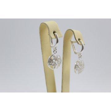 Дамски сребърни обеци с пеперуди и цветя 4495