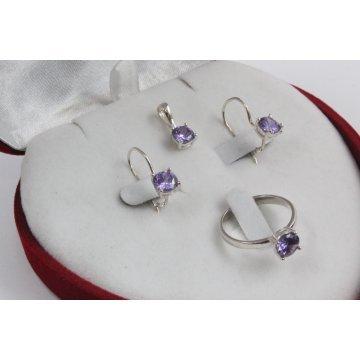 Дамски сребърен комплект Снежанка - Лилава обеци пръстен медальон 1781
