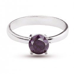Дамски сребърен пръстен с лилав циркон 2435