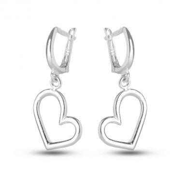 Дамски сребърни обеци Сърца 1790