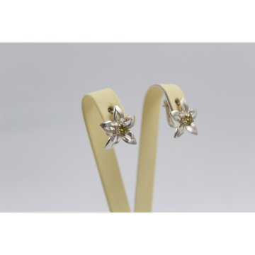Дамски сребърни обици зелени камъни Кристална Прелест Оливин