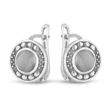 Дамски сребърни обици с лунен камък и тъмно сребро 1800