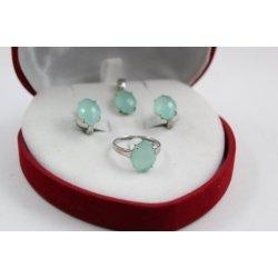 Дамски сребърен комплект обеци пръстен медальон 1821