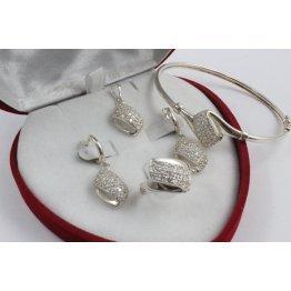 Дамски сребърен комплект Бонбон обеци пръстен медальон гривна 1822