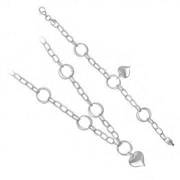 Сребърен дамски комплект - Мирела сърце колие и гривна 1828