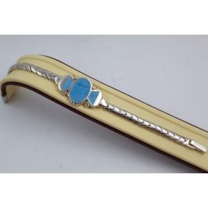 РАЗПРОДАЖБА -50% Сребърна гривна със синтетичен тюркоаз - Синьо Лято 1899