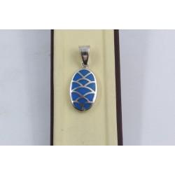 Дамски сребърен медальон със синтетичен тюркоаз Синьо Лято 1902
