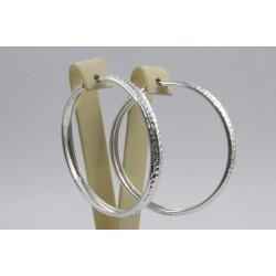 Дамски сребърни обеци халки диамандирани 1936