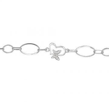 Дамска сребърна гривна с бели камъни Пеперудки 3708