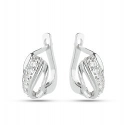 Дамски сребърни обеци с бели камъни 2285