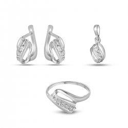 Дамски сребърен комплект Бонбон Мини пръстен медальон и обеци 1959