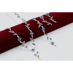Сребърен комплект Ангелски Цветя лилави колие гривна обеци 2008