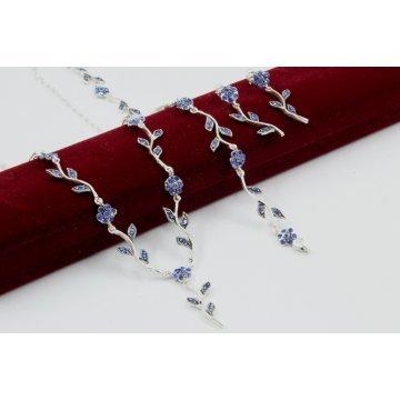 Сребърен комплект Ангелски Цветя турско сини колие гривна обеци 2008