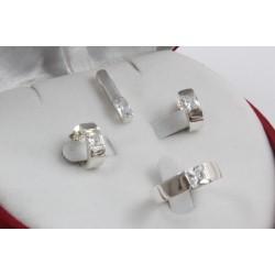 Дамски сребърен комплект Мини обеци пръстен медальон 2018