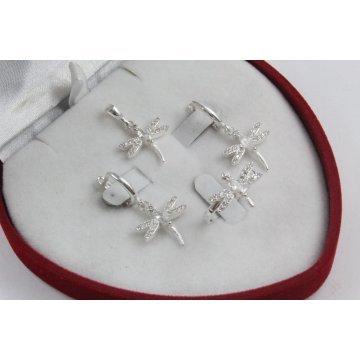 Дамски сребърен комплект Водни Кончета обеци пръстен медальон 2018