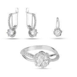 Дамски сребърен комплект Еделвайс обеци пръстен медальон 2022