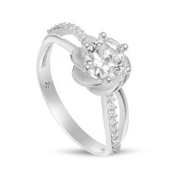 Дамски сребърен годежен пръстен Еделвайс 2024