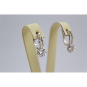 Дамски сребърни обици бели камъни Еделвайс
