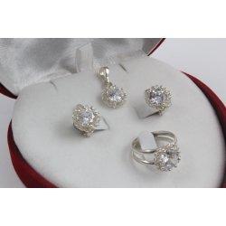 Дамски сребърен комплект Цветулки Бели 2038