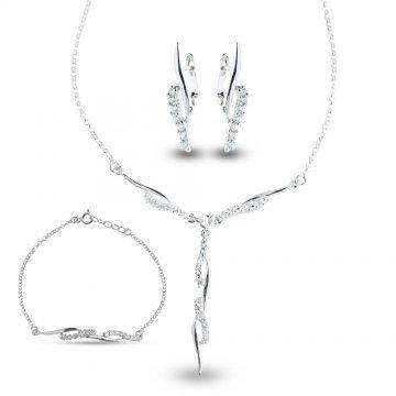 Дамски сребърен комплект Стилето колие гривна обеци 2106