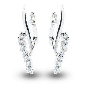Дамски сребърни висящи обеци Стилето бели камъни 4092