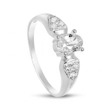 Дамски сребърен пръстен с бели камъни 2113