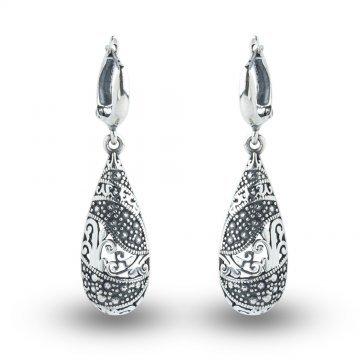 Дамски сребърни обеци Калинихта тъмно сребро 4533