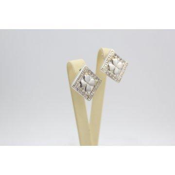 Дамски сребърни обеци с бели камъни 2143