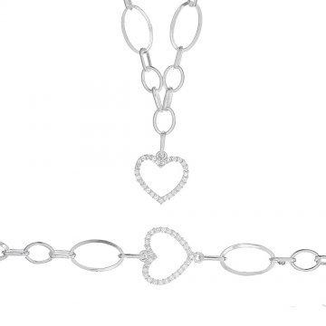 Дамски сребърен комплект Сърце 2158
