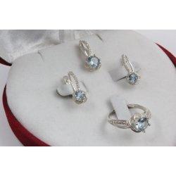 Дамски сребърен комплект Еделвайс Светло Син обеци пръстен медальон 2178