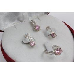 Дамски сребърен комплект Еделвайс Розов обеци пръстен медальон 2183