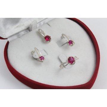 Дамски сребърен комплект Еделвайс Червен обеци пръстен медальон 2193