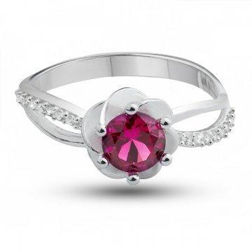 Дамски сребърен пръстен Еделвайс Червен 4272