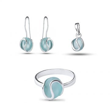 Дамски сребърен комплект със светло синьо котешко око 2208